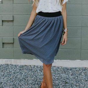 Slate grey Roolee polka dot midi skirt